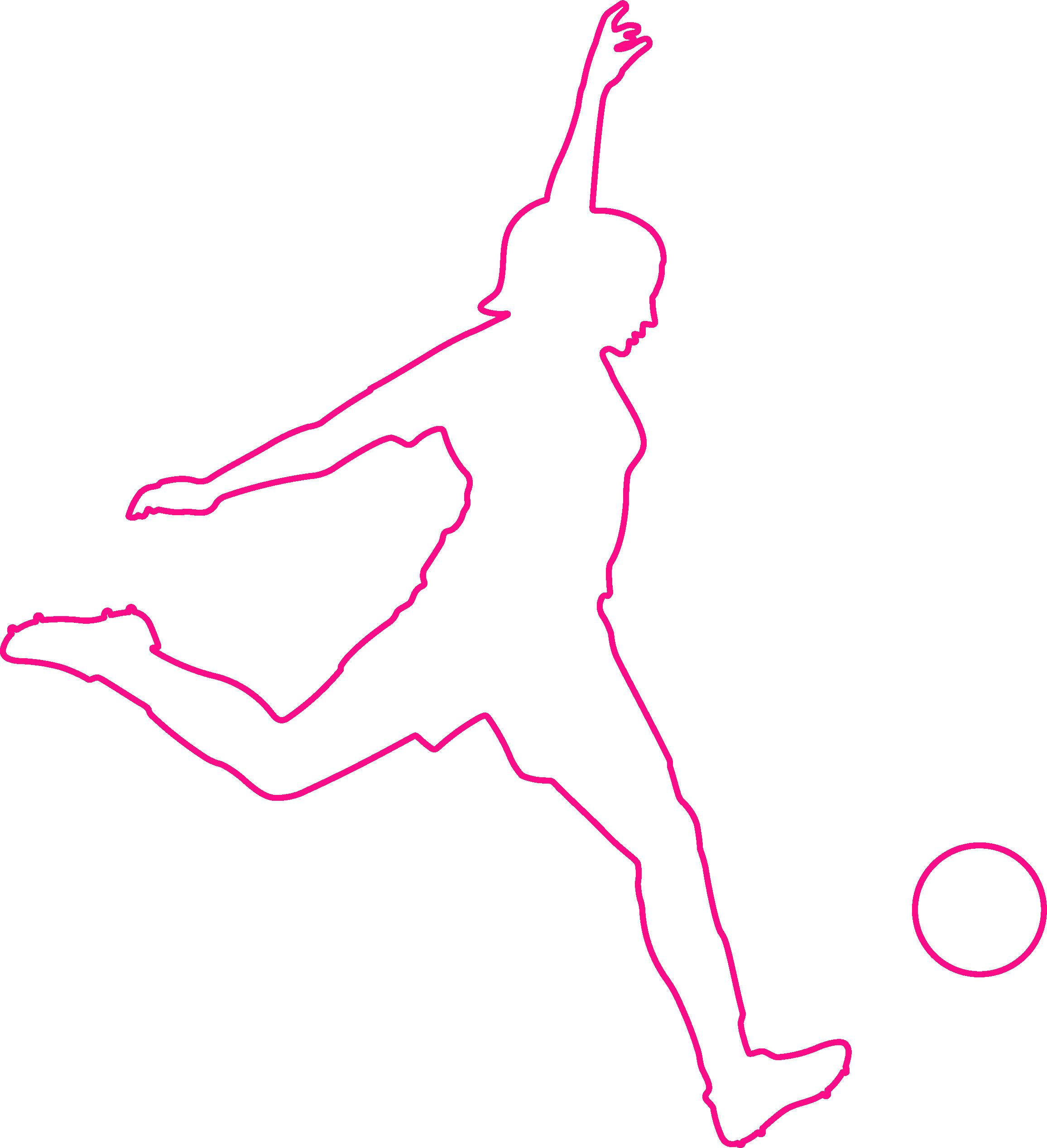 Girl kicking ball - outline - P