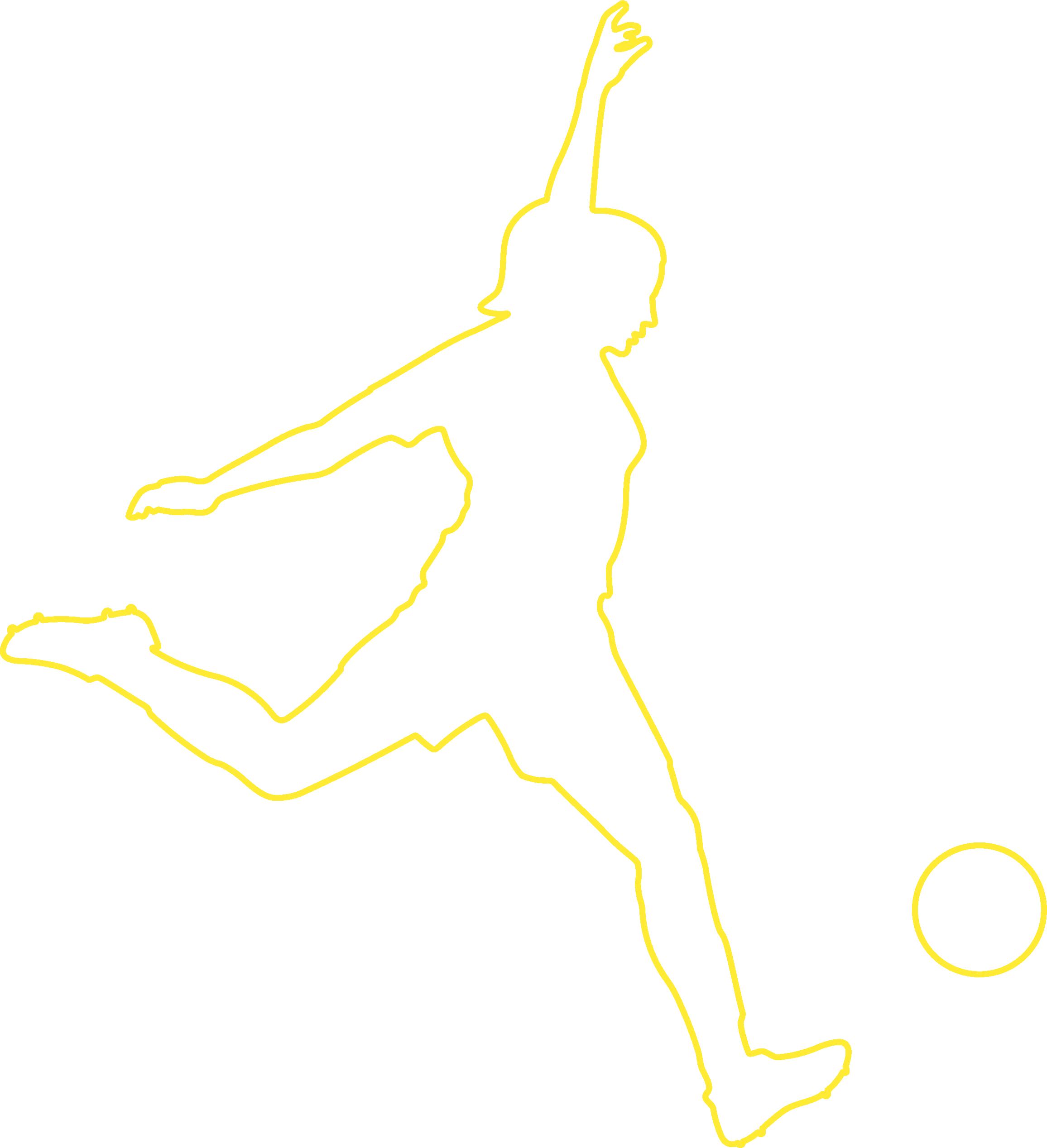 Girl kicking ball - outline - Y