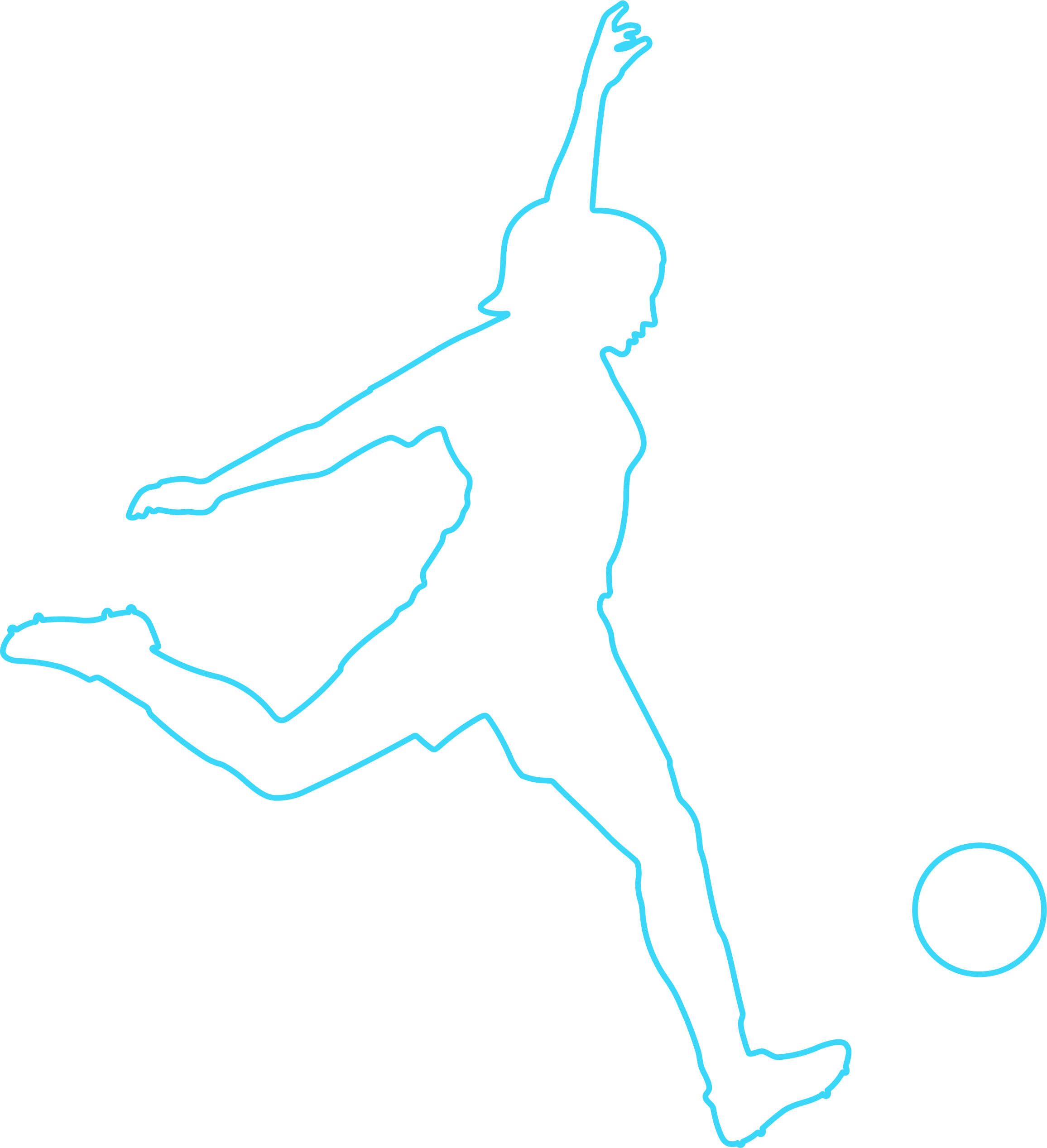 Girl kicking ball - outline